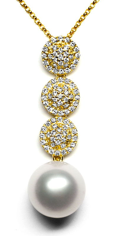 Kollier mit 11mm Südsee Perle und 87 Diamanten Gelbgold, S1224