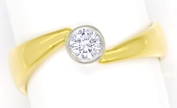 Foto 1, Diamantring mit 0,26ct River Brillant Solitär, 18K Gold, S1305