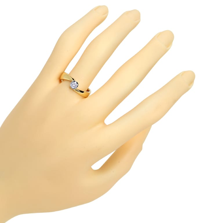 Foto 4, Diamantring mit 0,26ct River Brillant Solitär, 18K Gold, S1305