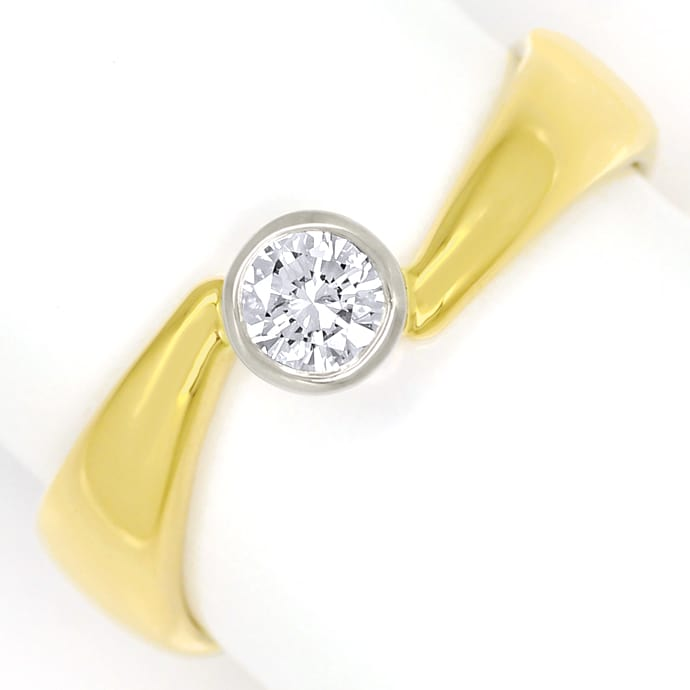 Diamantring mit 0,26ct River Brillant Solitär, 18K Gold, Designer Ring