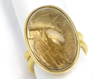 Foto 1, Ring Gelbgold riesiger toller Rutil Quarz Cabochon 19ct, S1318