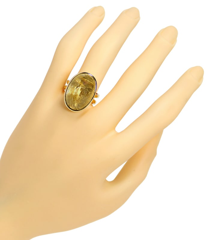 Foto 4, Ring Gelbgold riesiger toller Rutil Quarz Cabochon 19ct, S1318