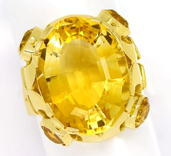 Foto 1, Designer Ring 14,7ct goldgelbe Citrine, in 14K Gelbgold, S1319