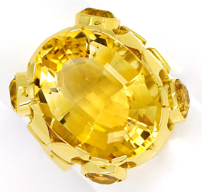 Foto 2, Designer Ring 14,7ct goldgelbe Citrine, in 14K Gelbgold, S1319