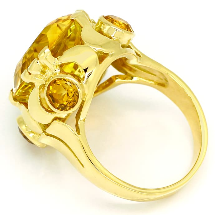 Foto 3, Designer Ring 14,7ct goldgelbe Citrine, in 14K Gelbgold, S1319