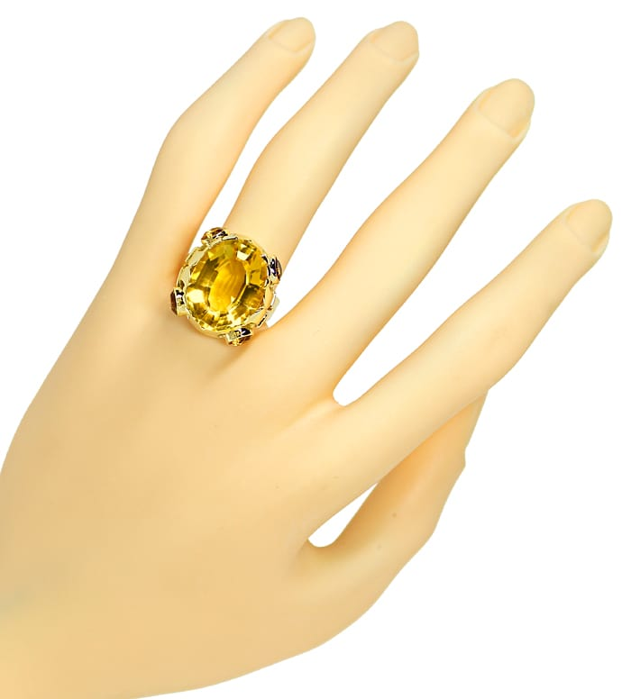 Foto 4, Designer Ring 14,7ct goldgelbe Citrine, in 14K Gelbgold, S1319