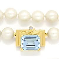 zum Artikel Diamantcollier 8ct Super Aquamarin, -9.5mm Akoya Perlen, S1329