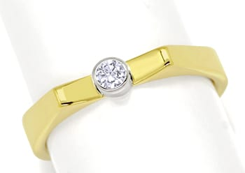 Foto 1, Ring 0,1ct Brillant in Weissgold Zarge Gelbgold Schiene, S1349