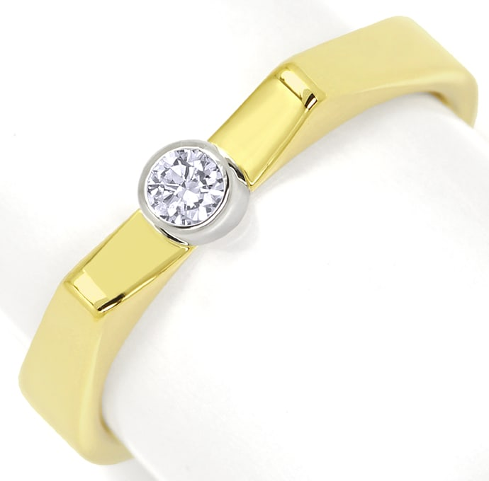 Foto 2, Ring 0,1ct Brillant in Weissgold Zarge Gelbgold Schiene, S1349