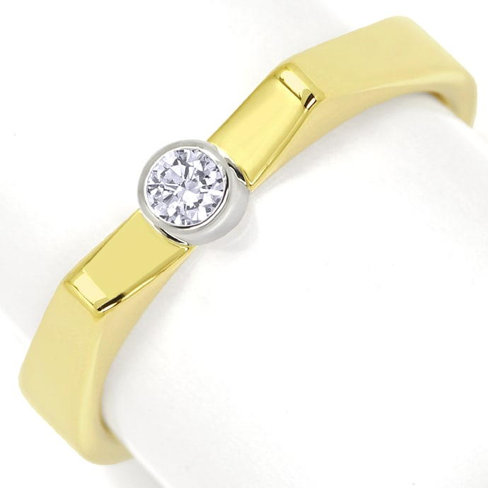 Ring 0,1ct Brillant in Weissgold Zarge Gelbgold Schiene, Designer Ring