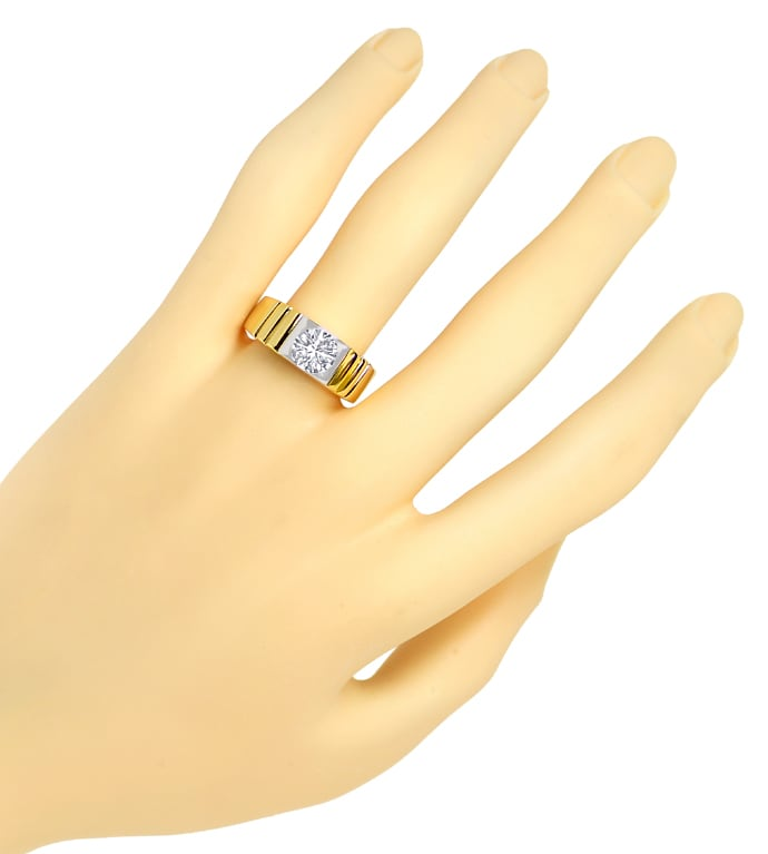 Foto 4, Diamantring 1,25ct Brillant Solitär in 18K Bicolor Gold, S1353