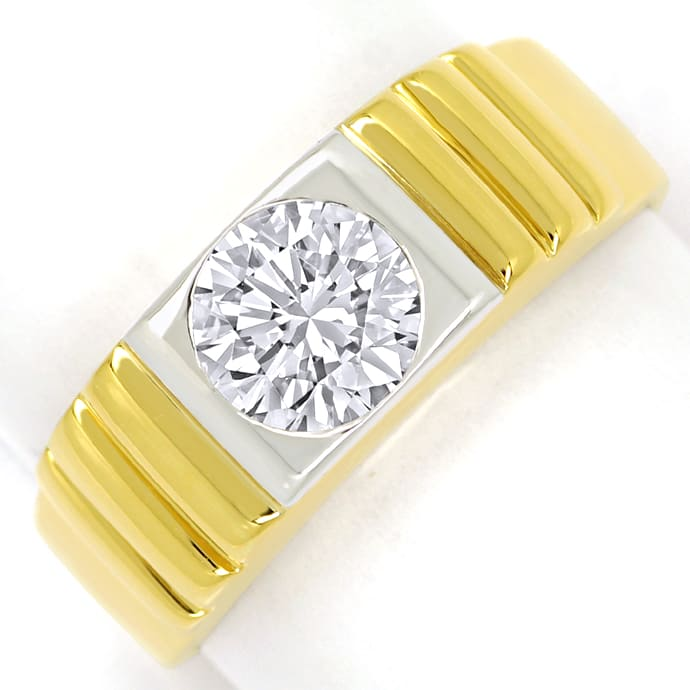 Diamantring 1,25ct Brillant Solitär in 18K Bicolor Gold, Designer Ring