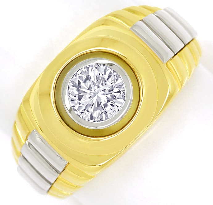 Foto 2, Diamantring mit 0,96ct Brillant Solitär 18K massiv Gold, S1354