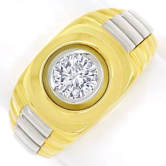 Diamantring mit 0,96ct Brillant Solitär 18K massiv Gold, Designer Ring