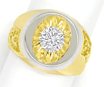 Foto 1, Designer Diamantring mit 1,11ct Brillant Solitär in 18K, S1355