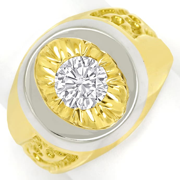 Designer Diamantring mit 1,11ct Brillant Solitär in 18K, Designer Ring