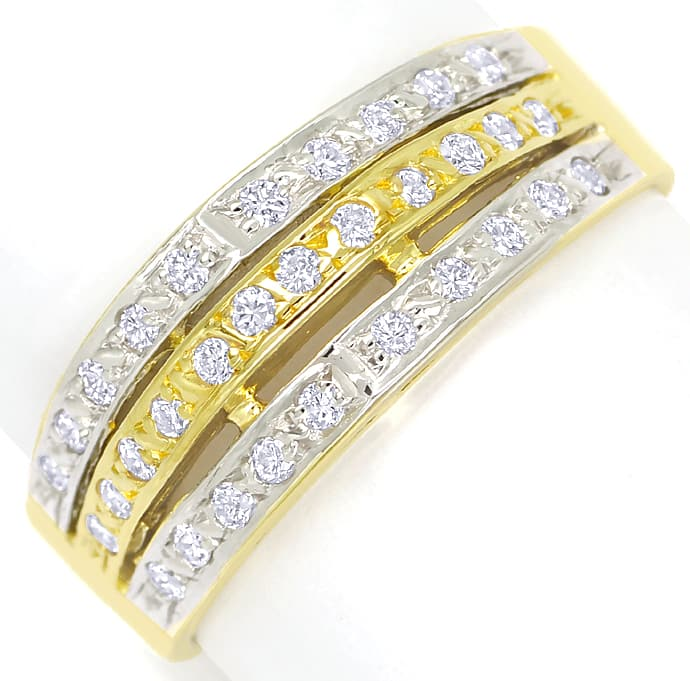 Foto 2, Diamantbandring Pavee mit 0,32ct Brillanten 14K Gold, S1357