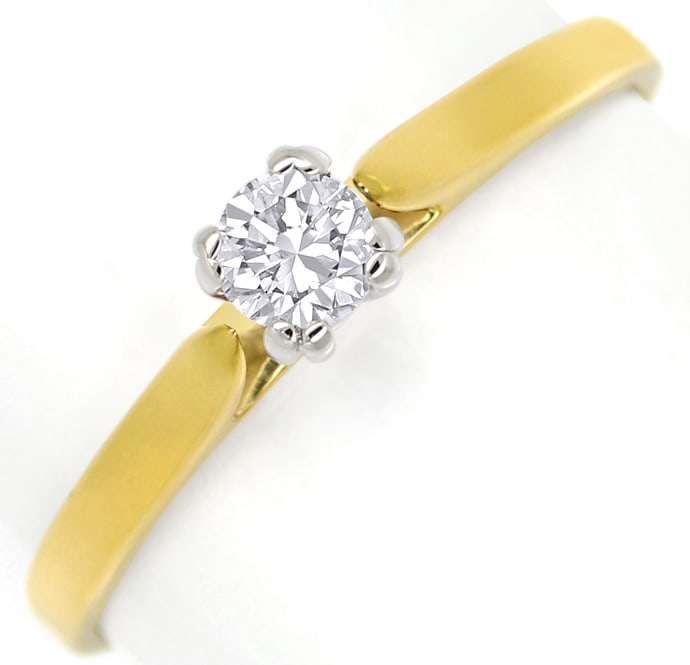 Foto 2 - Diamantring mit 0,20ct Brillant Solitär in Bicolor Gold, S1371