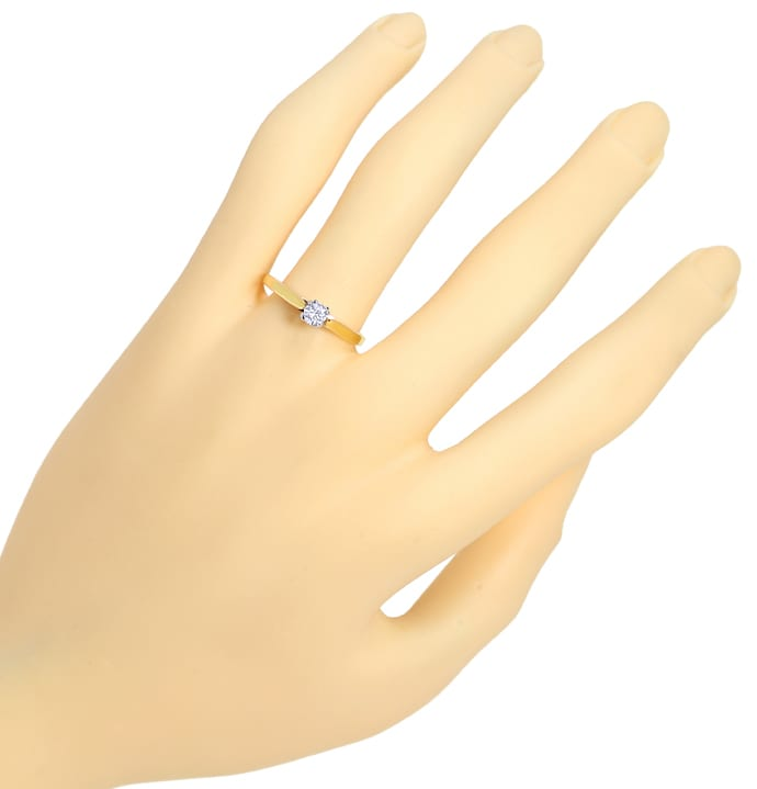 Foto 4 - Diamantring mit 0,20ct Brillant Solitär in Bicolor Gold, S1371