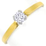 Diamantring mit 0,20ct Brillant Solitär in Bicolor Gold