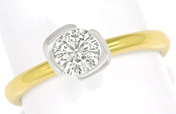 Foto 1 - Goldring mit 0,73ct Brillant Solitär 750er Bicolor Gold, S1379