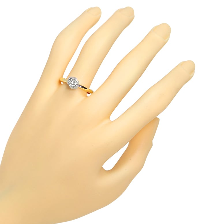 Foto 4, Goldring mit 0,73ct Brillant Solitär 750er Bicolor Gold, S1379