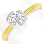 Goldring mit 0,73ct Brillant Solitär 750er Bicolor Gold