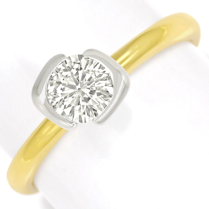Goldring mit 0,73ct Brillant Solitär 750er Bicolor Gold, Designer Ring
