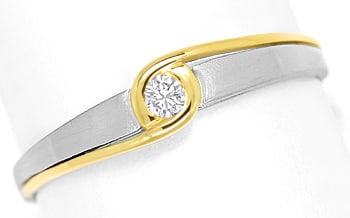Foto 1, Designer Diamantring 0,06ct Brillant in Platin Gelbgold, S1387