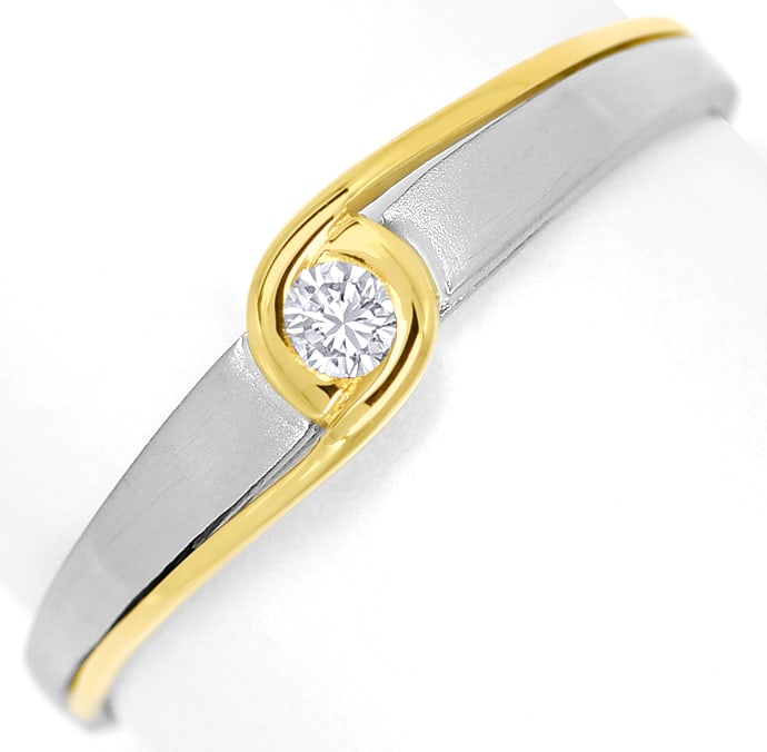 Foto 2, Designer Diamantring 0,06ct Brillant in Platin Gelbgold, S1387