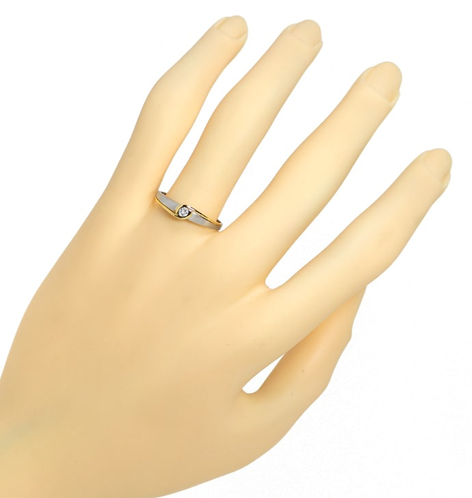 Foto 4, Designer Diamantring 0,06ct Brillant in Platin Gelbgold, S1387