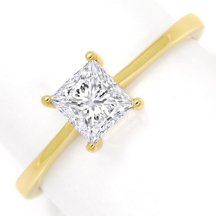 Diamantring 0,52ct Lupenrein Princess Solitär, Gelbgold, Designer Ring