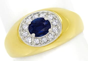 Foto 1 - Diamantbandring mit 0,5ct blauem Safir 0,15ct Diamanten, S1395