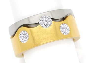 Foto 1, Diamantring mit 1,37ct Brillanten extra massiv Gold 18K, S1406