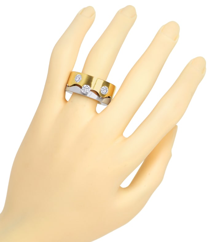 Foto 4, Diamantring mit 1,37ct Brillanten extra massiv Gold 18K, S1406