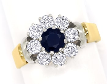 Foto 1, Diamantring mit blauem Safir und Brillanten in 18K Gold, S1409