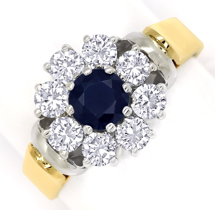 Foto 2, Diamantring mit blauem Safir und Brillanten in 18K Gold, S1409