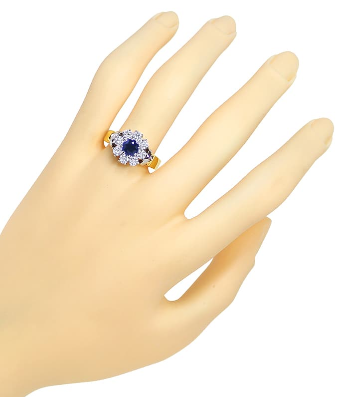 Foto 4, Diamantring mit blauem Safir und Brillanten in 18K Gold, S1409