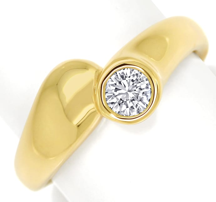 Foto 2, Diamantring mit 0,31ct Brillant Solitär in 14K Gelbgold, S1413