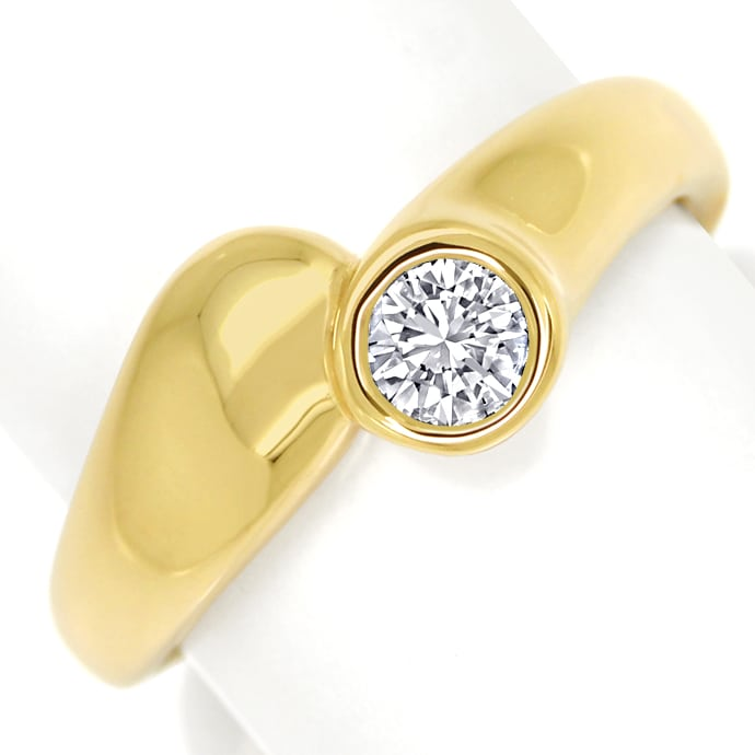 Diamantring mit 0,31ct Brillant Solitär in 14K Gelbgold, Designer Ring