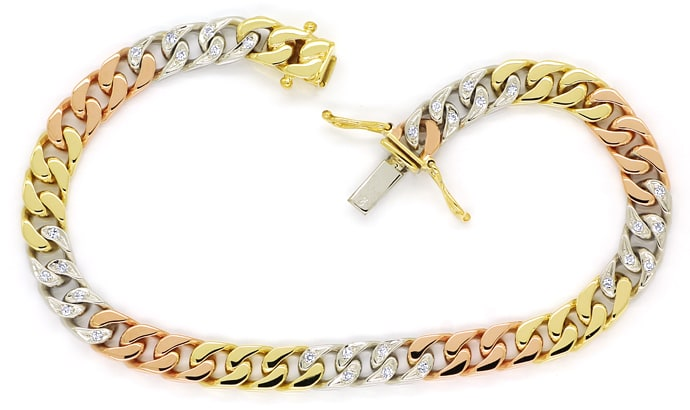 Foto 1, Armband Flachpanzer mit 0,33ct Diamanten, Tricolor Gold, S1417