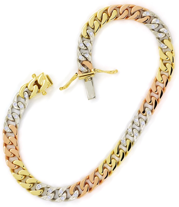 Foto 3 - Armband Flachpanzer mit 0,33ct Diamanten, Tricolor Gold, S1417