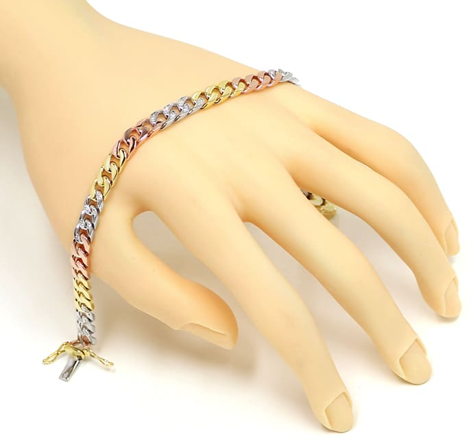 Foto 4 - Armband Flachpanzer mit 0,33ct Diamanten, Tricolor Gold, S1417