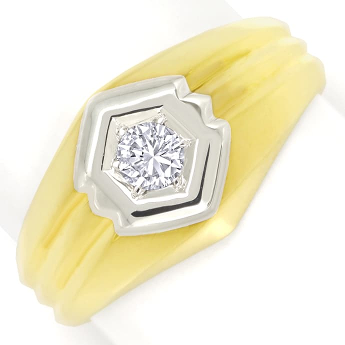 Goldring mit 0,18ct lupenreinem River Brilliant Solitär, Designer Ring