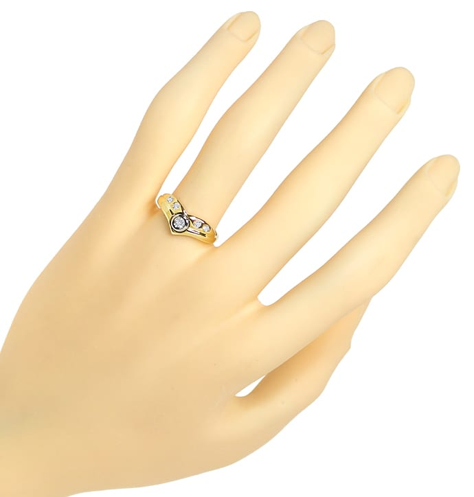 Foto 4, Designer Diamantring mit 0,14ct Diamanten in 585er Gold, S1424