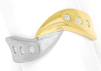 Foto 1 - Diamantring mit 0,12ct Brillanten in Gelbgold Weissgold, S1425