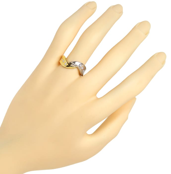 Foto 4 - Diamantring mit 0,12ct Brillanten in Gelbgold Weissgold, S1425