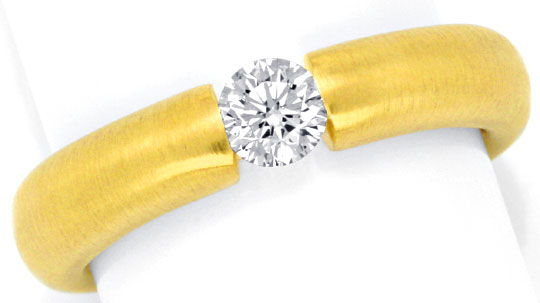 Foto 2, Brillant Diamantspannring massiv 18K Gold 0,35ct Luxus!, S1434