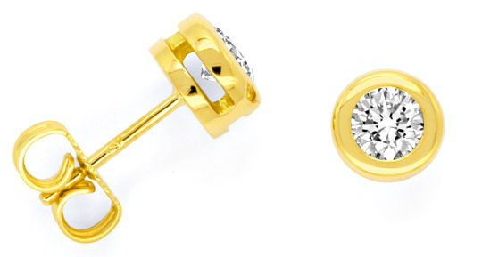 Foto 1, Brilliant Diamant Ohrstecker 0,65ct 18K Gelbgold Luxus!, S1456