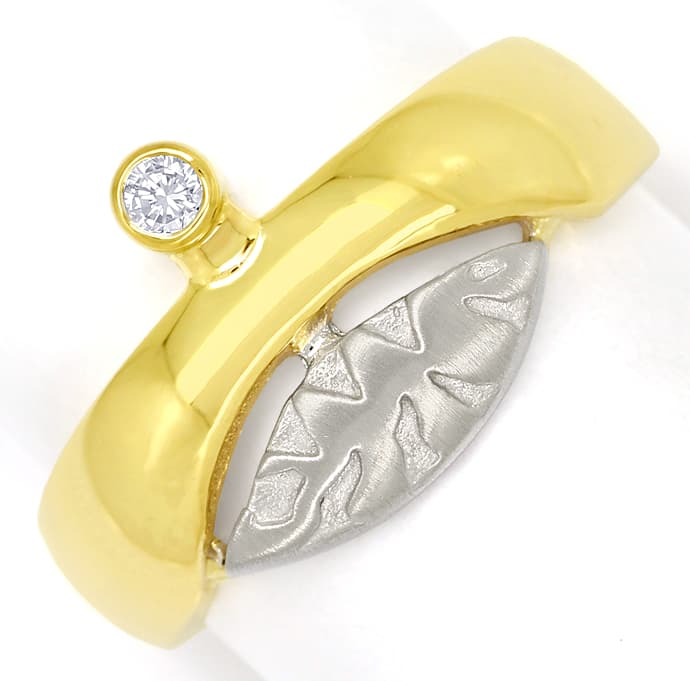 Foto 2, Design Bandring mit 0,06ct Brillant in 14K Bicolor Gold, S1460